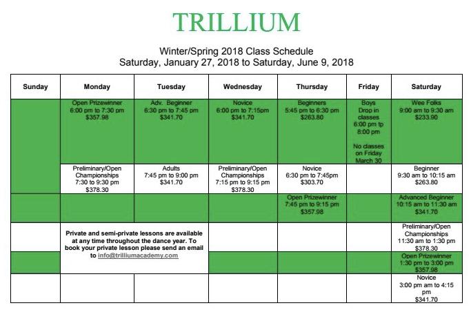 18 trillium schedule